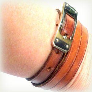Auth HERMES Leather Double Necklace Bracelet Belt